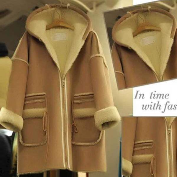 가바바 여성 겨울 미디무스탕 편하게 입기 좋은 청순한 스타일 포켓 후드 데일리 양털무스탕 G41230
