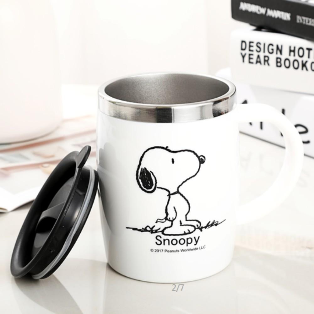 스누피 보온보냉 스댕 머그컵 캠핑 가서 쓰기좋은 안깨지는컵 스누피머그컵, 하얀