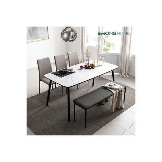 뮤즈 이태리세라믹 화이트 6인식탁세트(의자3벤치1), 로즈골드_초코브라운3벤치1