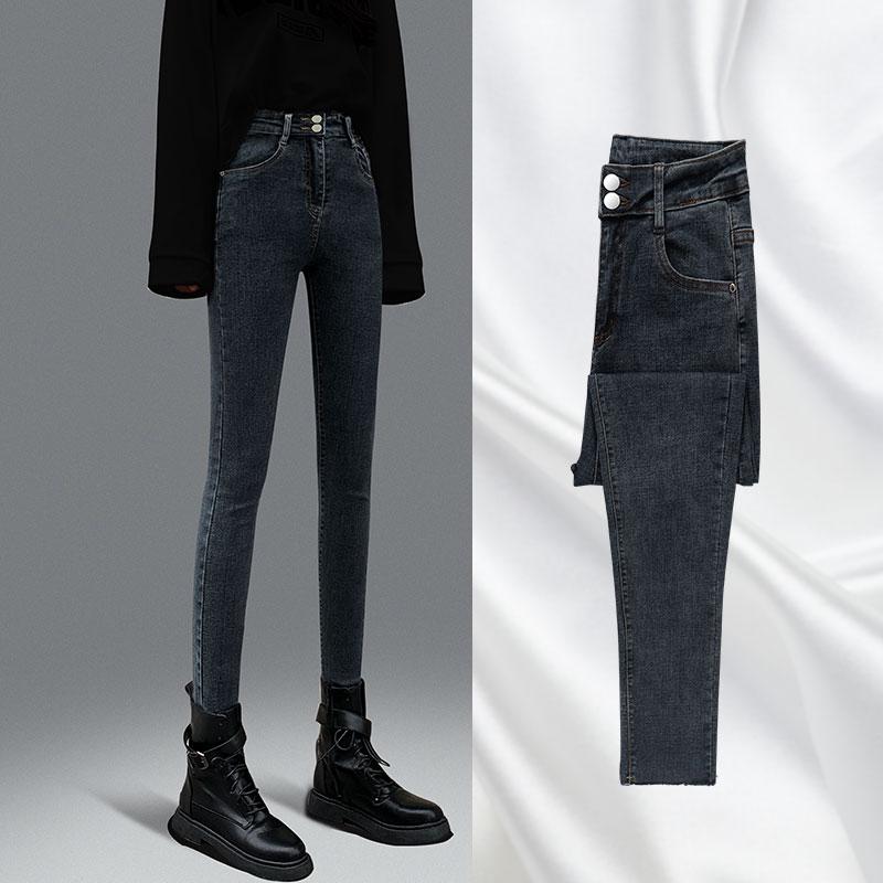 레깅스 하이웨스트 청바지 여성가을옷 세트 2020년정품 봄가을 슬림핏 블랙 타이트 탄력 좁은발목 긴바지