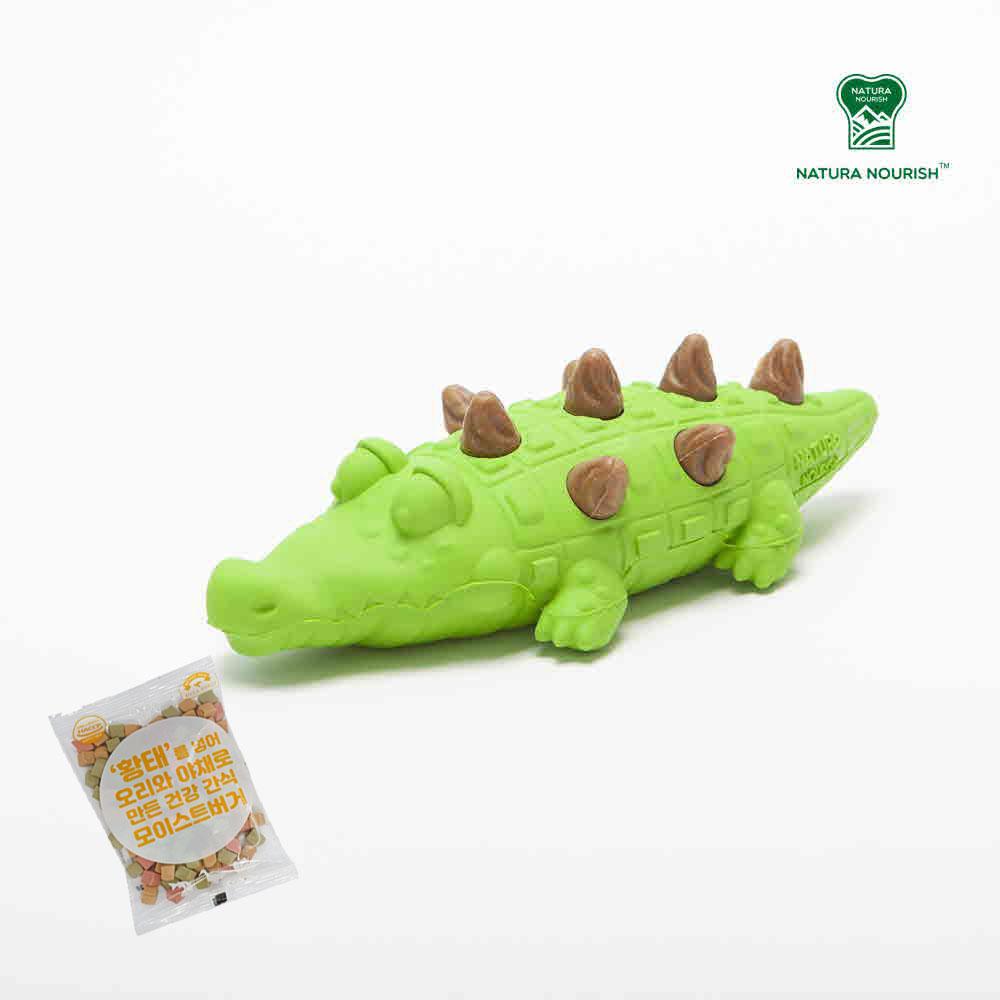 네추라너리쉬 강아지 노즈워크 덴탈트릿 장난감 악어 (연두색) + 황태버거 간식 1개 추가증정