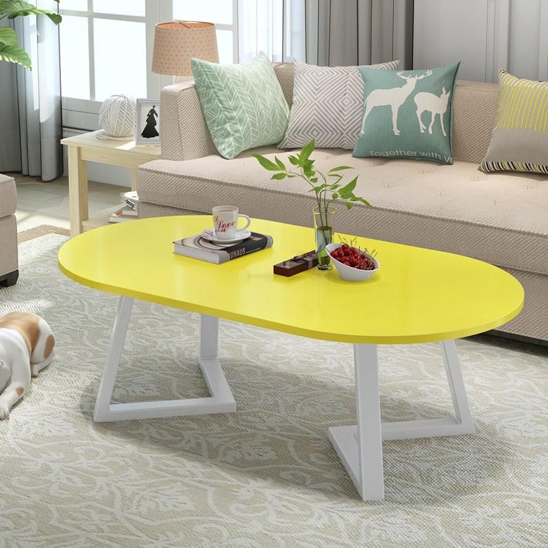 세련된 소파테이블 티테이블 원목 거실테이블 접이식 거실테이블 엔틱테이블, 120 * 60 * 45 흰색 프레임 + 노란색 표면
