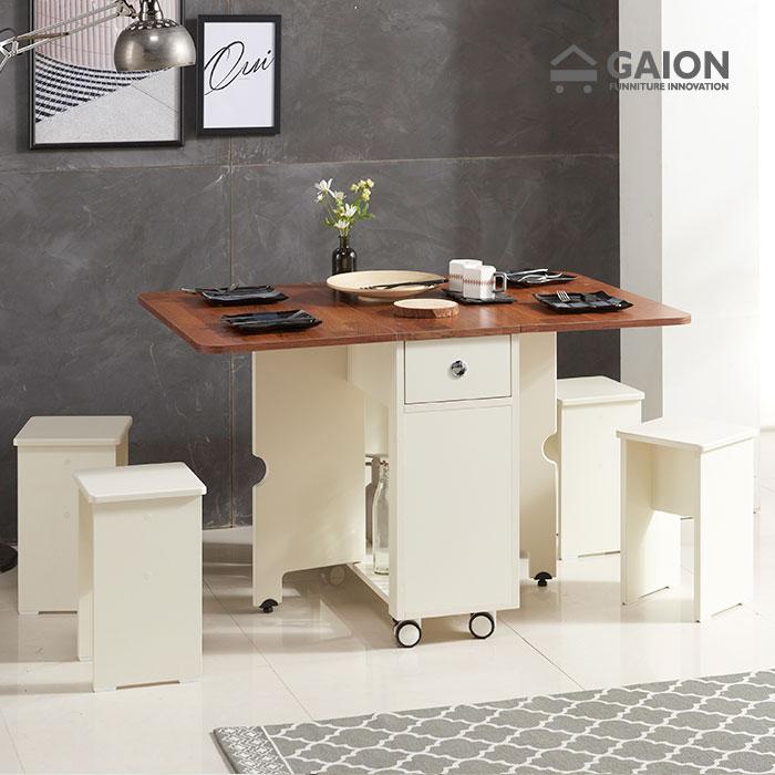 가이온 올인원 폴딩 식탁테이블+스툴 4EA, 아이보리멀바우