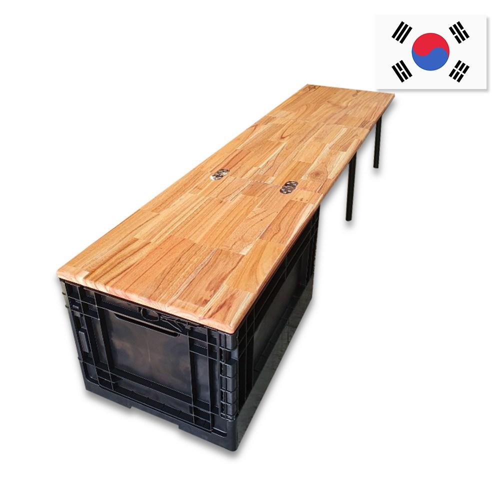 캠핑스토리 3단 우드 접이식 캠핑테이블 폴딩박스 차박테이블 캠핑키친테이블, 세로형 테이블 + 폴딩박스