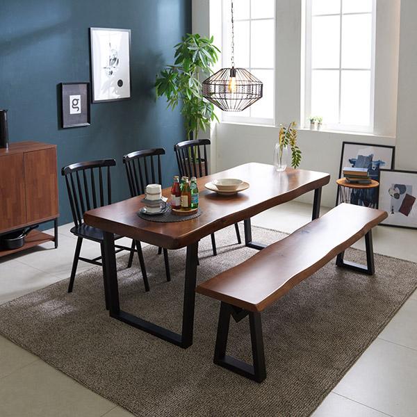 삼익가구 캘빈 우드슬랩 2000 통원목 식탁 세트(벤치1개+의자3개포함), 월넛