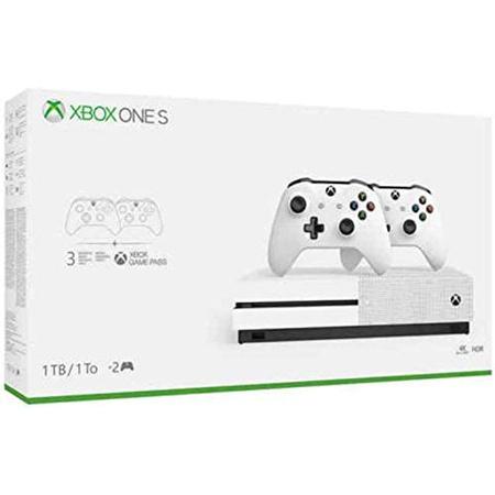 최신 플래그십 Microsoft Xbox One S 1TB HDD 번들 2 개 (2X) 무선 컨트롤러 1 개월 게임 패스 평가판 1, 상세 설명 참조0