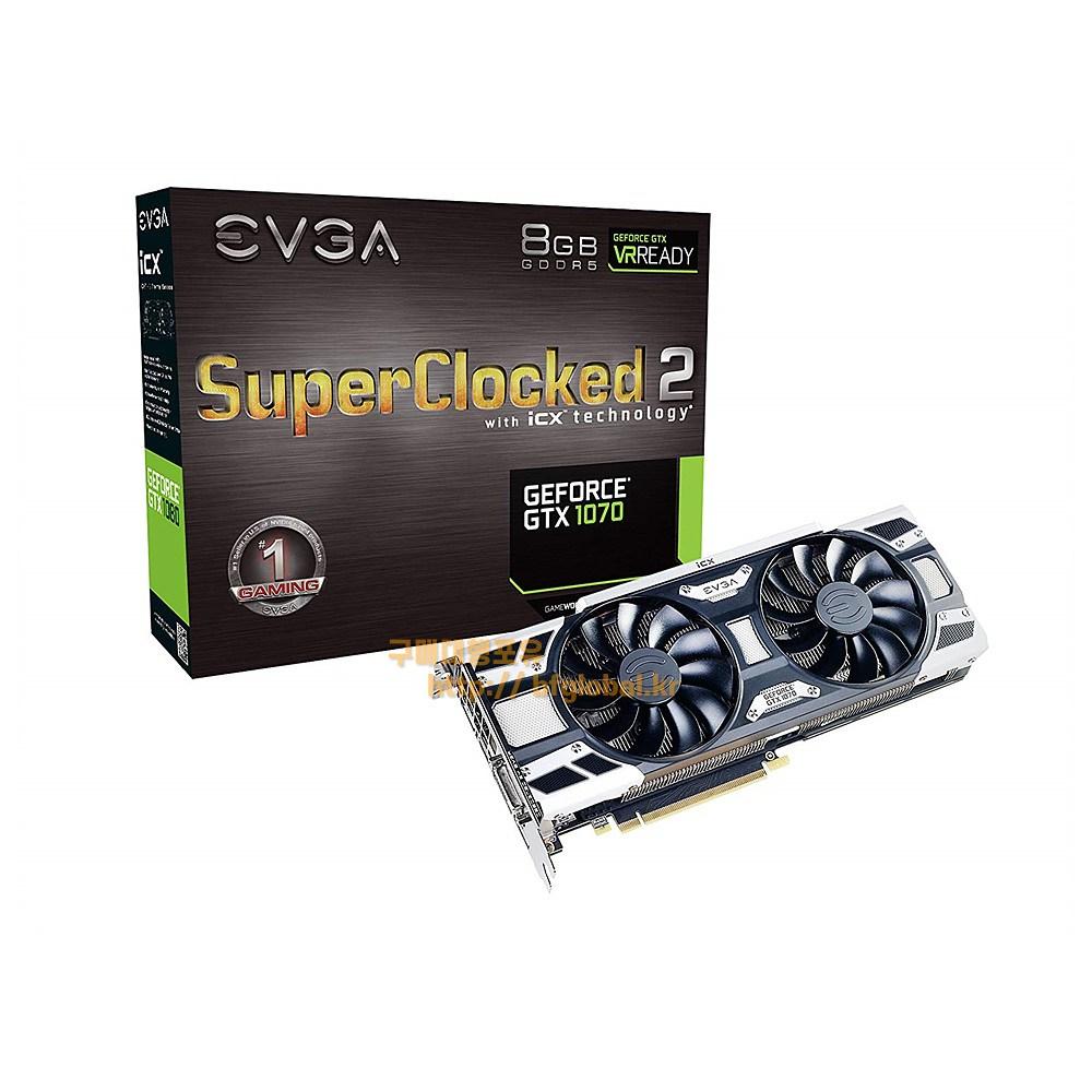 EVGA GeForce GTX 1070 SC2 Gaming 8GB GDDR5 그래픽카드, 08G-P4-6573-KR