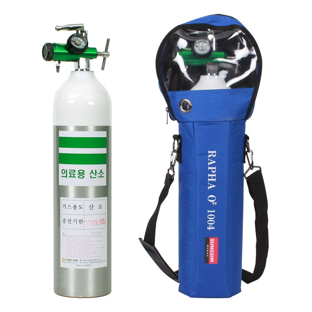 그랜드메디 휴대용 산소호흡기 2.8L(산소통+레귤레이터+콧줄+가방), 1개