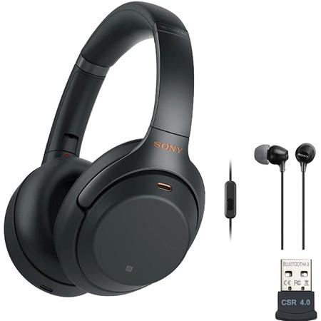 해외소니 WH-1000XM3 무선 노이즈 캔슬링 오버이어 헤드폰 (블랙) 엑스트라 베이스 이어버드 및 USB 블루, 상세 설명 참조0, Black
