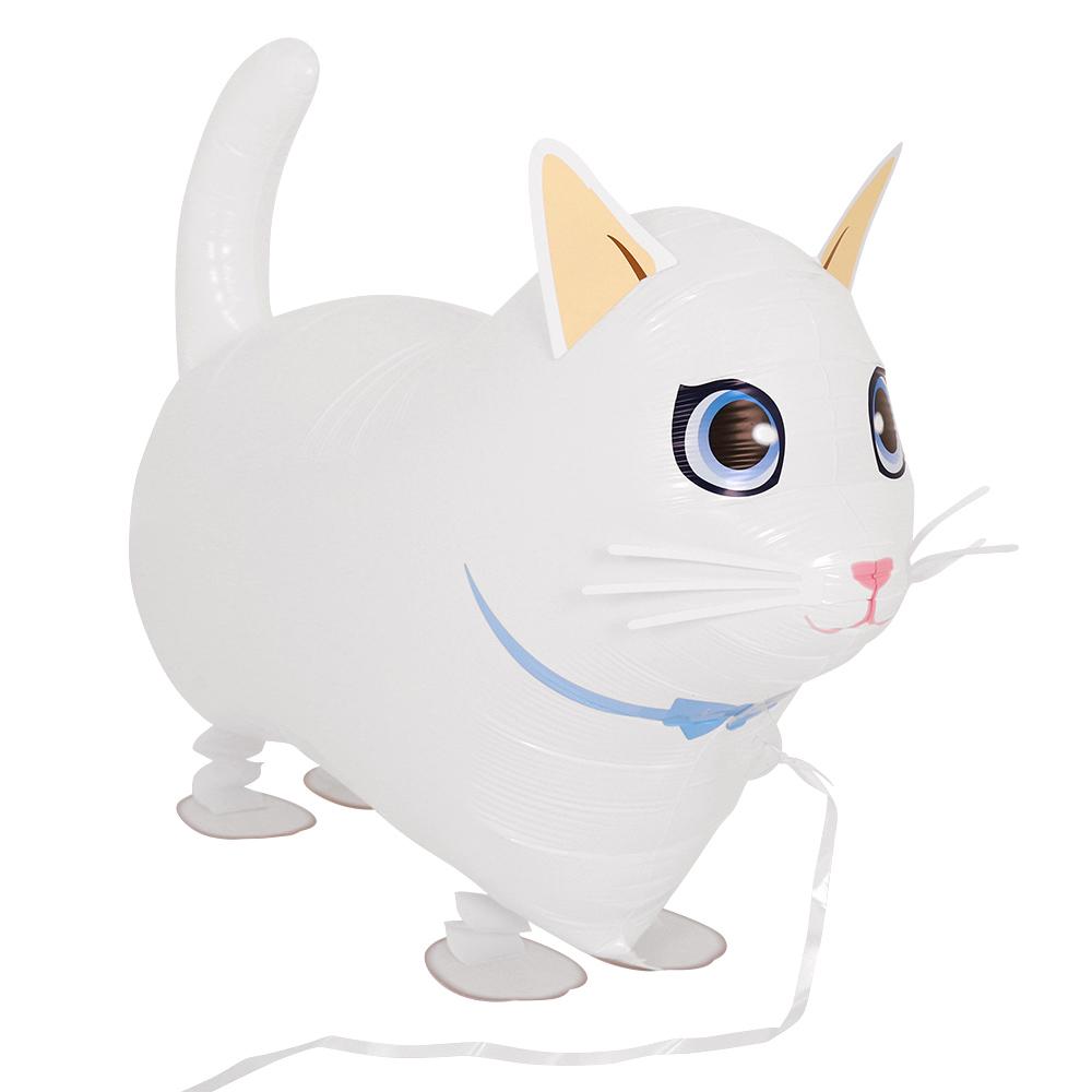 산보풍선흰색고양이 끌고다니는 움직이는 동물 풍선, 단품