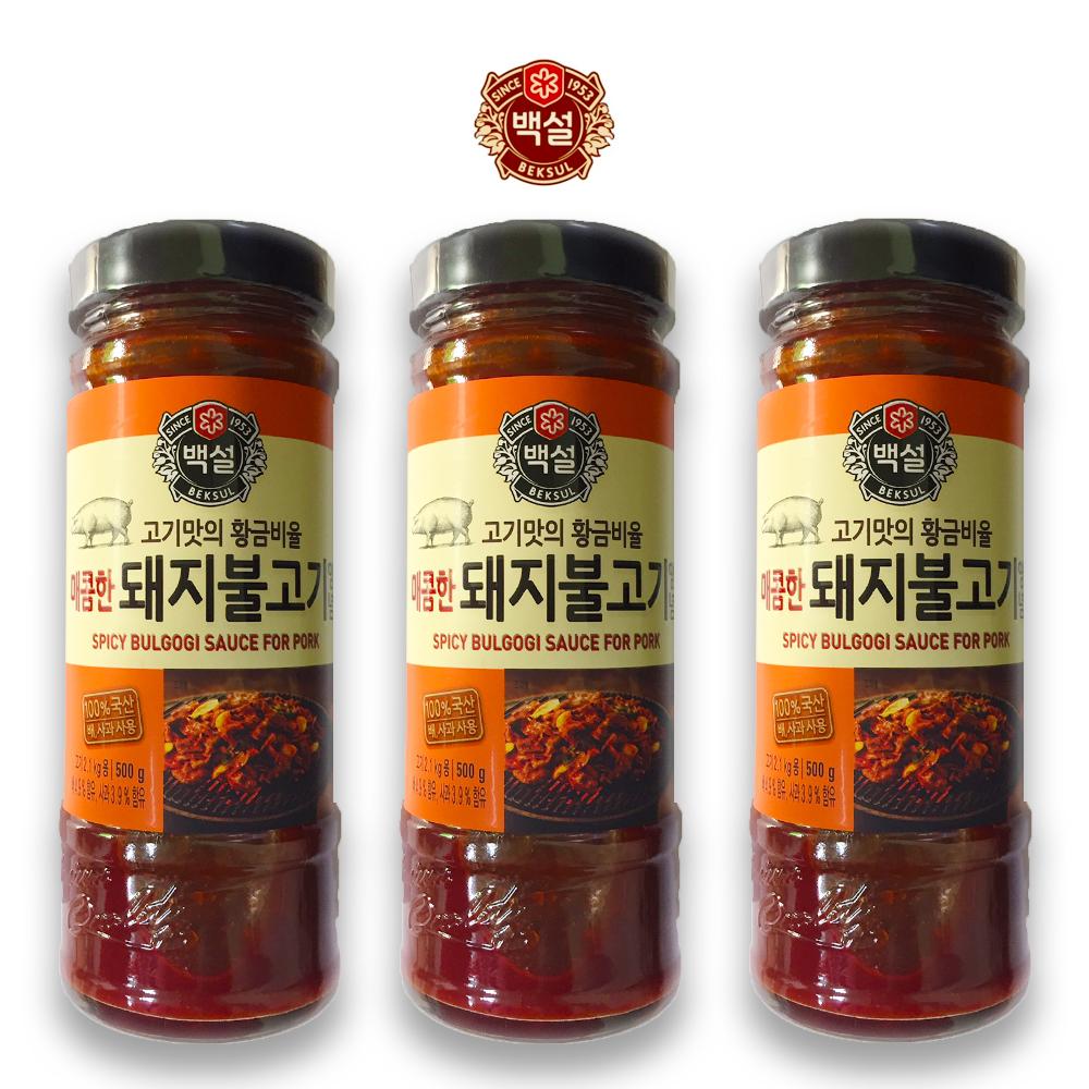 예이니식품 CJ 백설 매콤한 돼지불고기 양념 3개(500gx3개) 간편요리조림볶음, 500g, 3개