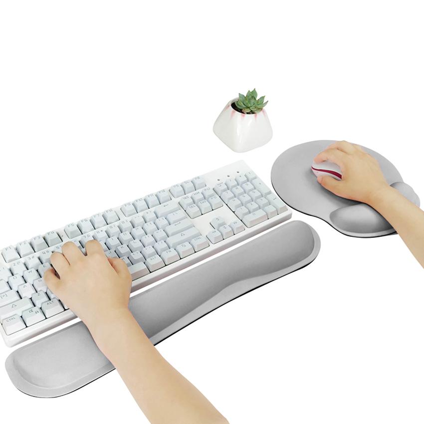 (슈퍼그린) 키보드 마우스패드 마우스손목받침대 마우스손목보호 데스크매트 키보드손목받침대 팜레스트, 1개, 세트 : 키보드+마우스 손목보호대(대) - 그레이