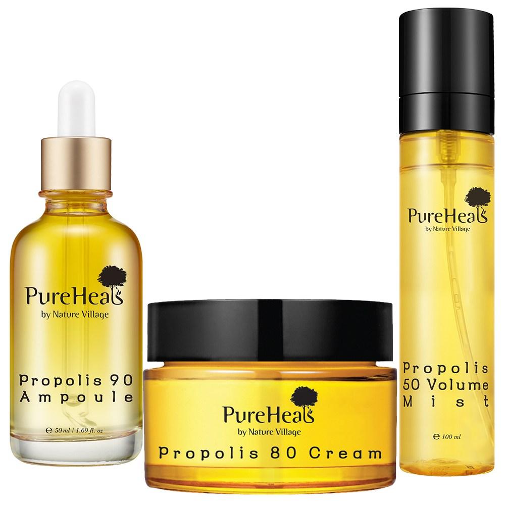 PureHeals 프로폴리스 영양 보습 기초 3종 세트 크림+앰플+미스트 기초세트, 1set