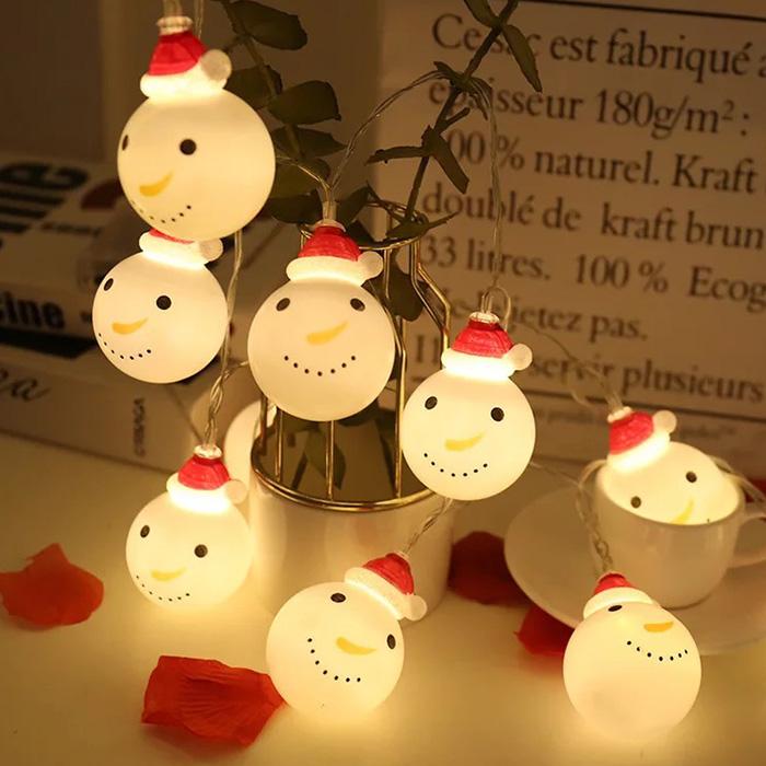 피치애플 USB충전 크리스마스감성캠핑 인테리어 눈사람앵두전구 루프탑조명 20개세트 트리전구/조명