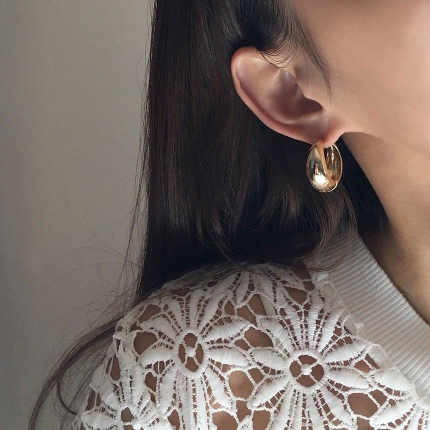 맥플라 모던 볼드 원터치 링 귀걸이 2color