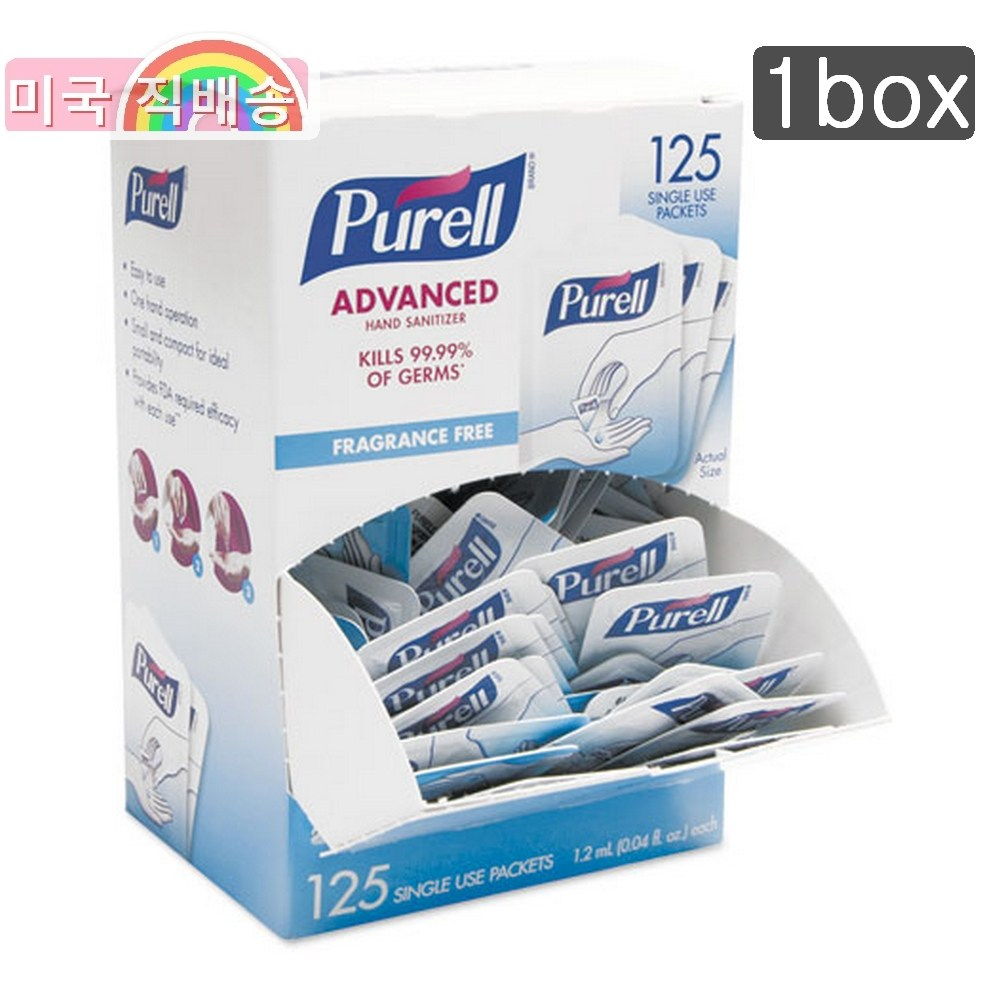 퓨렐 1회용 손 세정제 휴대용 1.2mL 등교용 Hand Sanitizer 125개 PURELL 일회용 1box, 단일상품