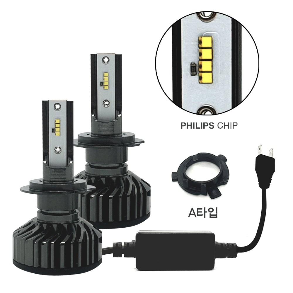 HCR 22000루멘 6500k 필립스칩 LED헤드라이트 헤드램프 전조등 안개등 전차종호환 H1 H3 H4 H7 H8 9005 9006 880 881 국내배송 확인, H7+A타입(소캣)