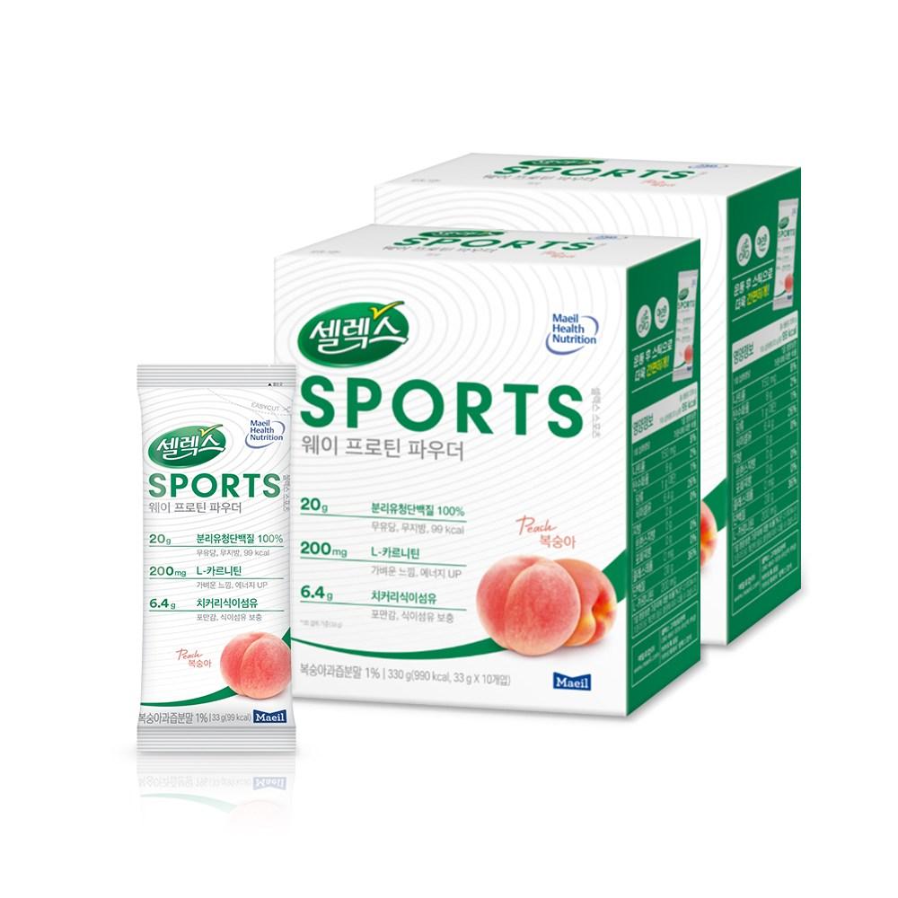 [매일유업] 셀렉스 스포츠 웨이 프로틴 파우더 분말 스틱 (복숭아맛), 33g*20개입