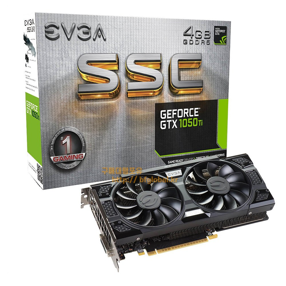 EVGA Gaming GTX1050 TI SSC 4 GB DDR5 Graphics Card 그래픽카드, 04G-P4-6255-KR