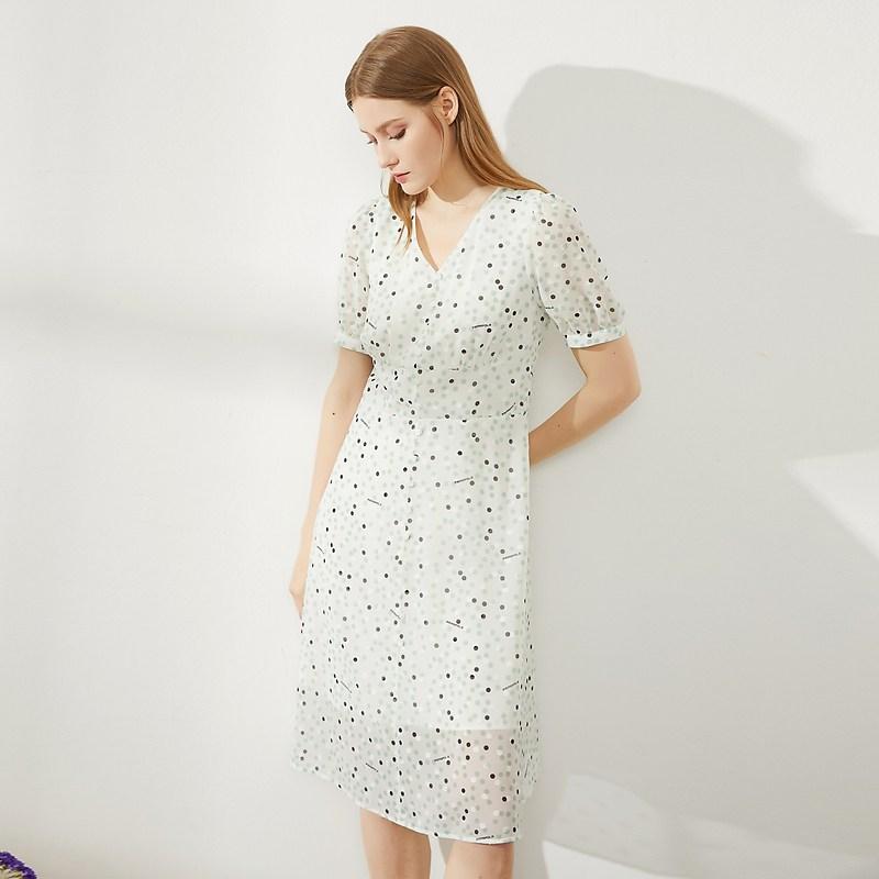 여성 여름 원피스 BEANPOLE 암보 2021 여름 신상품 레이디스 V넥 포인트 원피스는 허리와 여름의 새로운 (POP 5886425797)