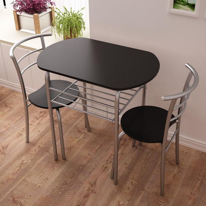 2인용 티테이블세트 타원형테이블 미니식탁 공간활용 식탁 의자세트, 블랙(테이블+의자2개)