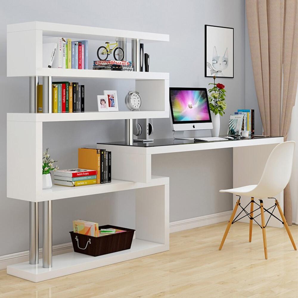 SILUOSEN 슬 로 슨 컴퓨터 책상 책장 조합 회전 각 심 플 현대 가정용 학습 1m + 0.6 미터 4 층, 상세페이지 참조