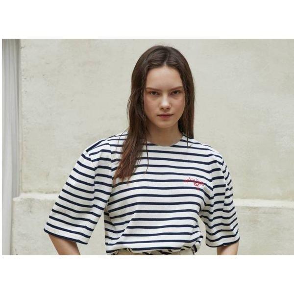 [갤러리아] 에고이스트[Blue Label] 스트라이프 볼륨슬리브 티셔츠 EM2OTH16
