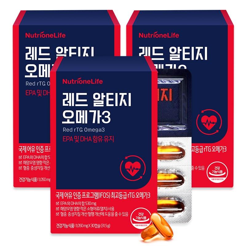 뉴트리원 크릴오일 함유 최고등급인증 알티지 오메가3 혈행개선제 혈관건강 영양제 30캡슐 + 활력환, 3박스