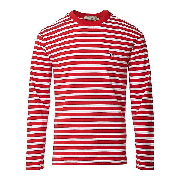 럭셔리에비뉴 럭셔리에비뉴 (메종 키츠네) AU00105KJ2004 REWH 트리컬러 폭스 패치 스트라이프 티셔츠 (P000996457)
