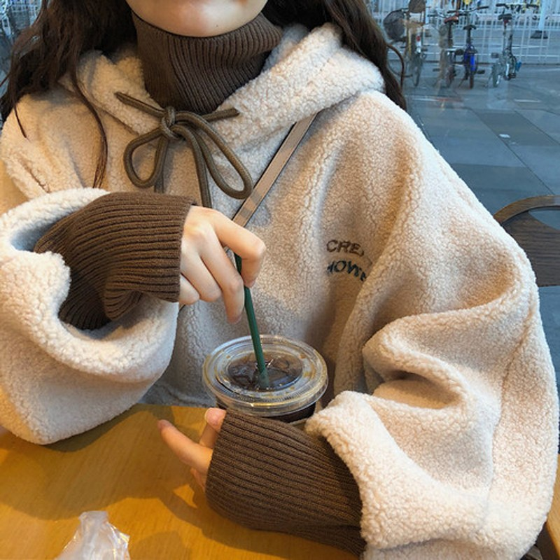 여자 오버핏 학생 교복 아우터 후드티셔츠 QN4