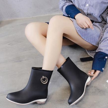 포니샵 어른 성인 여성 가벼운 통넓은 비 장마 여름 비올때 비오는날 미들 레인부츠 장화 신발
