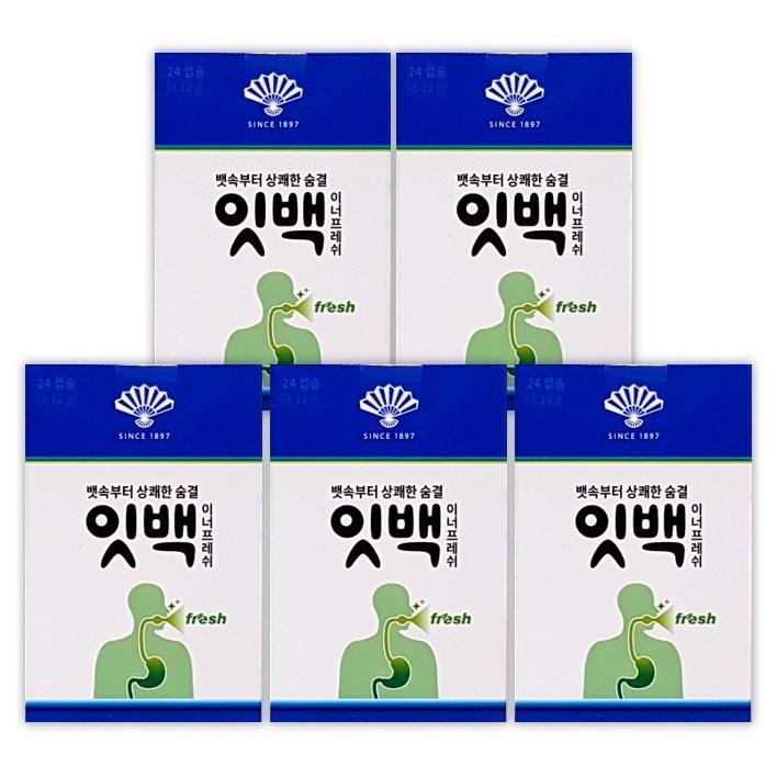 동화약품 잇백 이너프레쉬 24캡슐 위장부터 올라오는 마스크입냄새 제거, 5팩