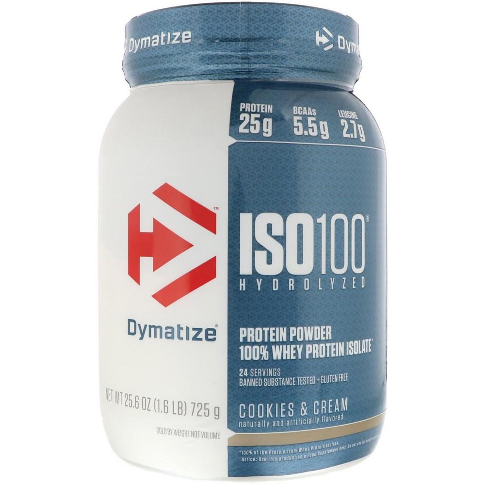 [미국직구]Dymatize Nutrition ISO 100 하이드롤라이즈드 100% 웨이 프로틴 아이솔레이트 쿠키 앤 크림 725 g(1.6lbs), 선택, 상세설명참조