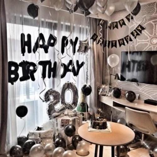 [무료배송] 성인생일축하 풍선걸 엎드려서 장식 남자파티장면 꾸미기세트, 17 샴페인 풍선 생일