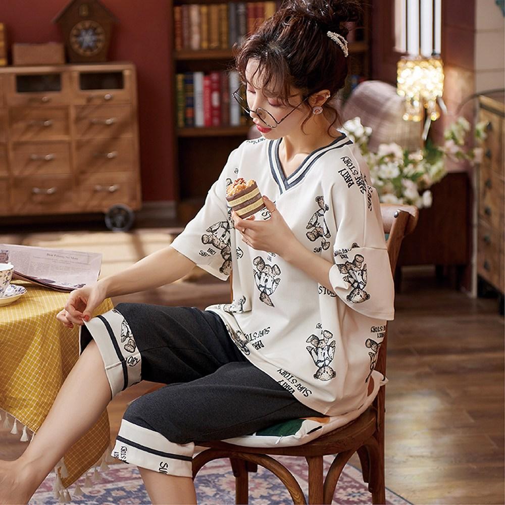 봄여름 반팔 7부바지 얇은 순면 여성 홈웨어 잠옷세트