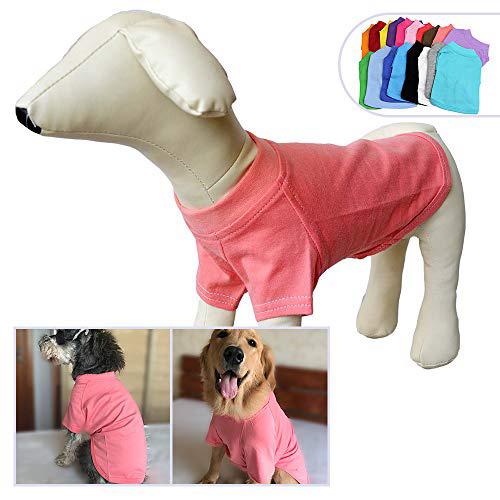 2018 애완 동물 의류 개복 비어있는 티셔츠 티셔츠 중소형 중형견 용 100 % 코튼 개 티즈 클래식 (XL Lotus Pink) 2018 Pet Clothing Dog Clo, 1set