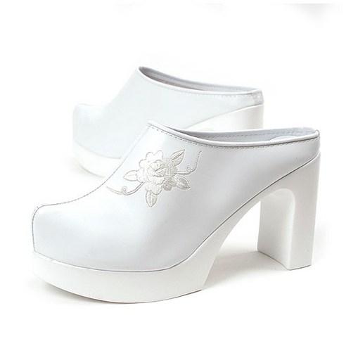 진흥J.H 백힐 한복신발 웨딩슈즈 9CM 결혼 신부 국산 신발 폐백 꽃신 자수