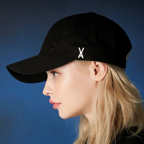 [바잘] 스터드 로고 오버핏 볼캡 블랙