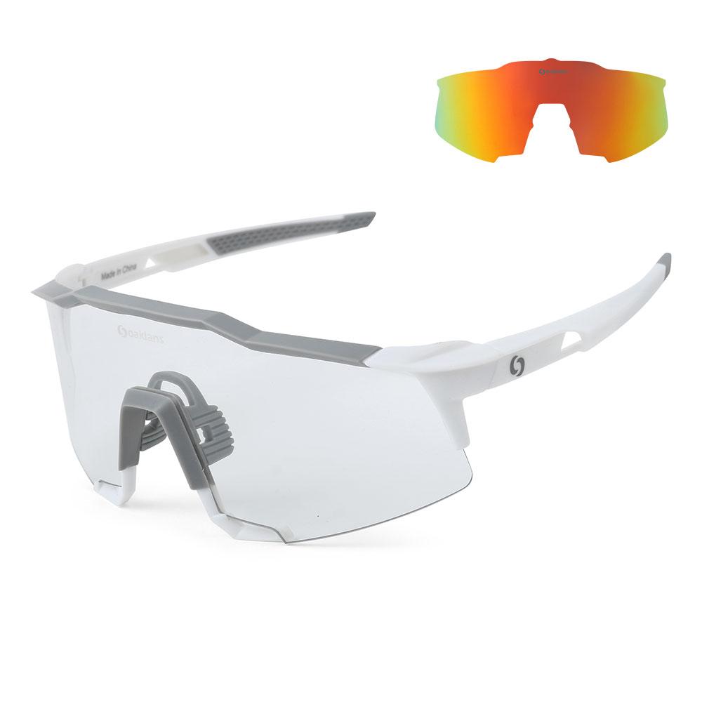 오클랜즈 X701 자전거 고글 변색 편광 선글라스 스포츠 방풍 낚시 라이딩 싸이클 자외선 uv 차단 남자, X701 화이트프레임/레드밀러편광+변색-28-5324452369