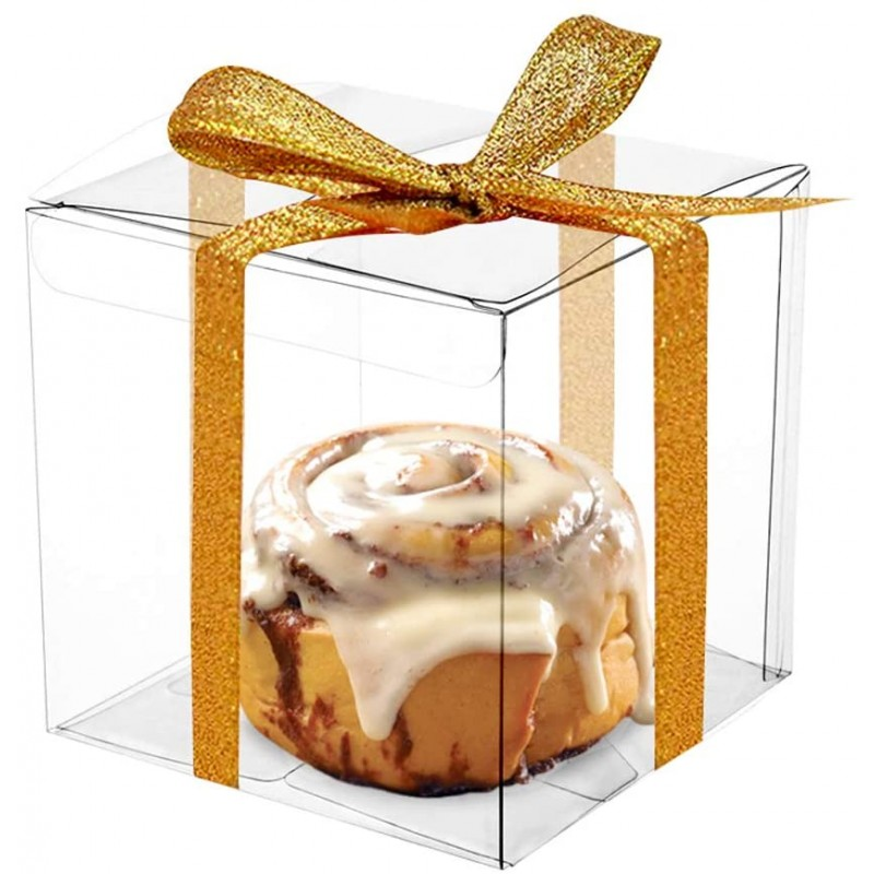 COMFECTO 클리어 박스 for Favors 4x4x4 50 pcs 마카롱 컵케익 캔디 쿠키 장식 선물 웨딩 파티 베이비 샤워 디스플레이 용, 1