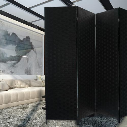 에코팩토리 인테리어 파티션 핸드메이드 라탄 칸막이 공간분리, [E-대형]150x200cm올:블랙