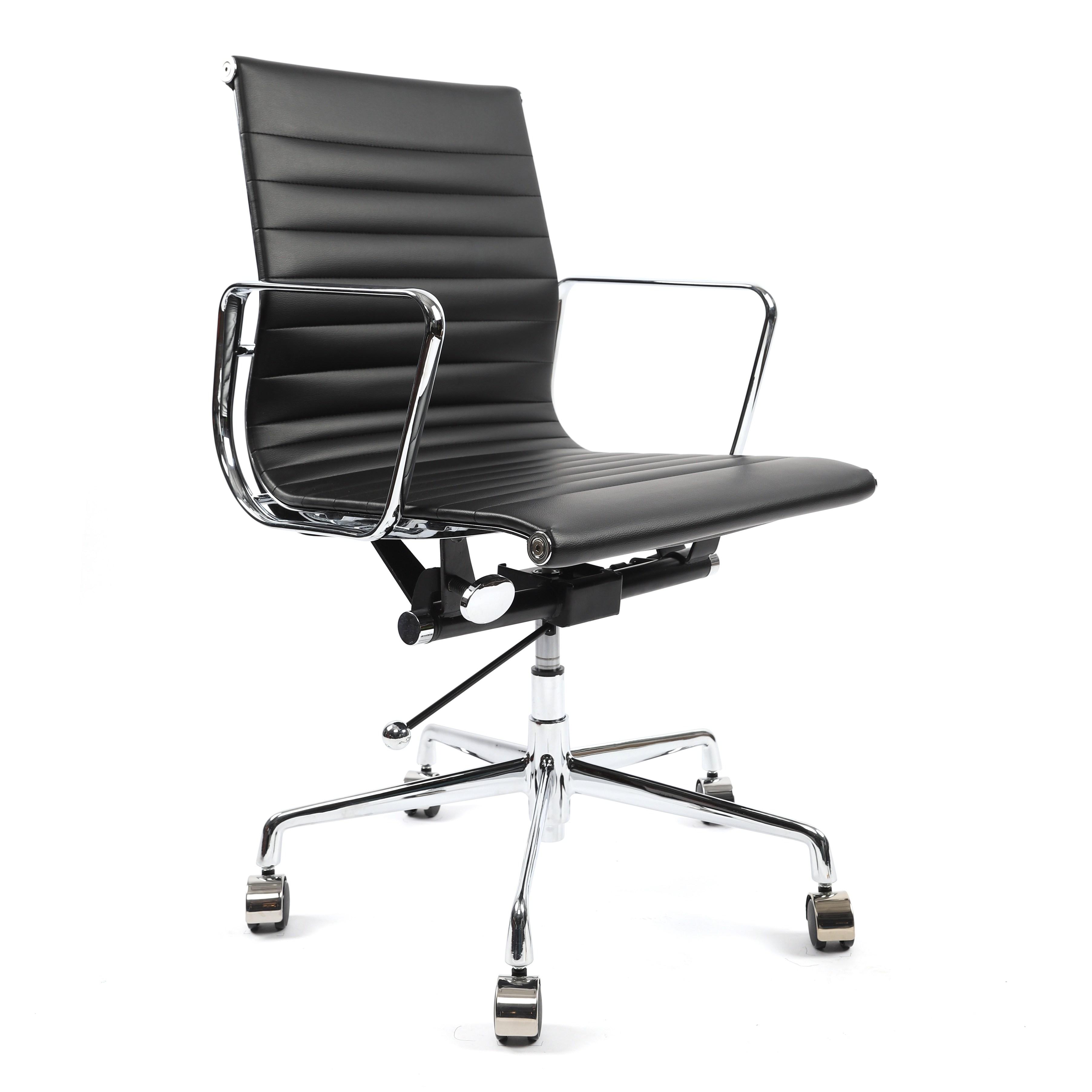 휘게체어 허먼밀러 임스체어 디자이너 명품 오피스 가죽 의자 인테리어, 인조가죽(PU) - 블랙