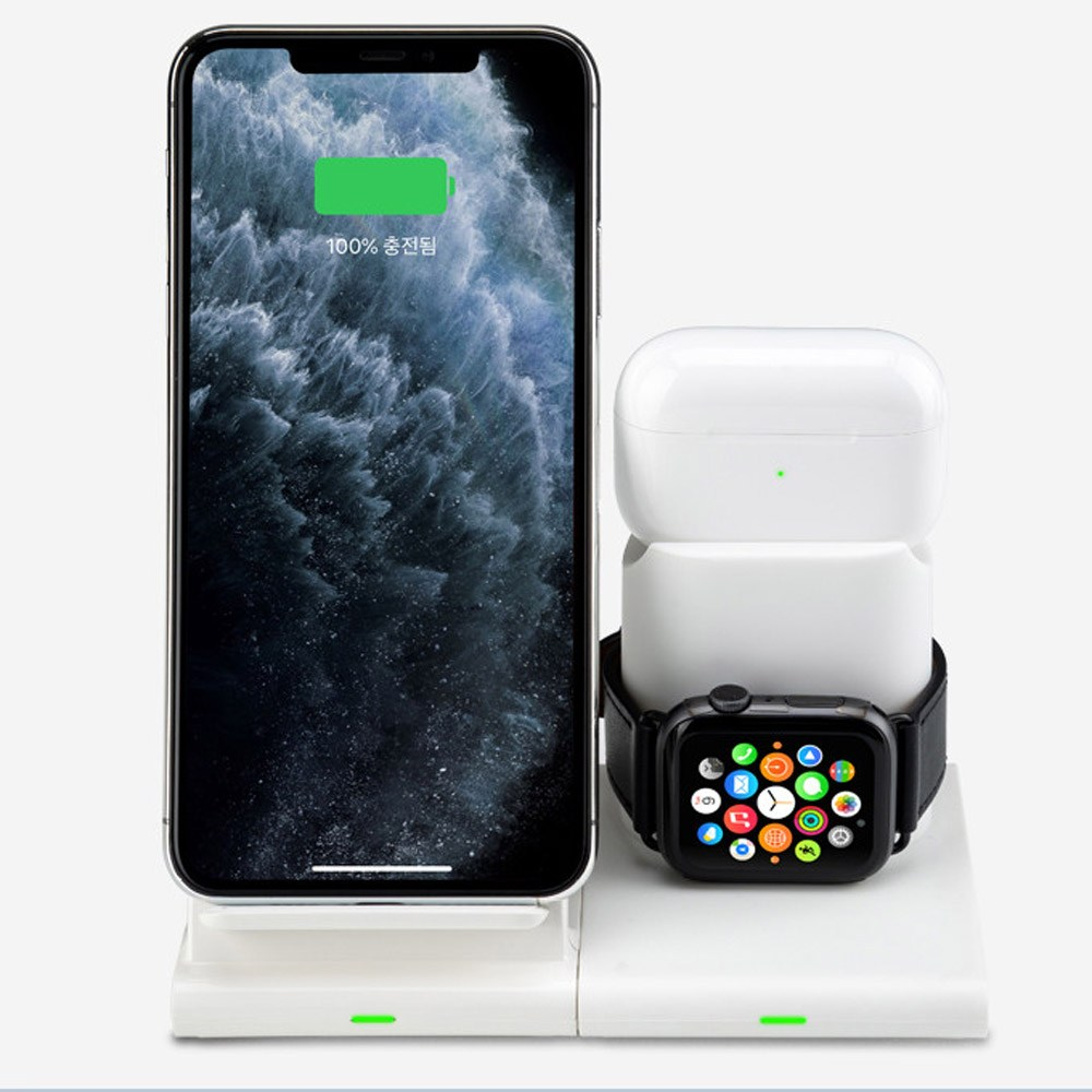 클레버타키온 스마트폰 무선충전기 아이폰 애플워치 에어팟 충전독, 1개, 블랙