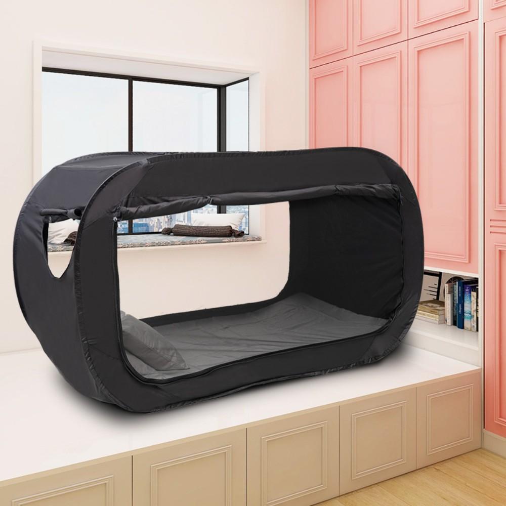 1인용 싱글 가정용 원룸 기숙사 실내 사각침대 텐트, 검정