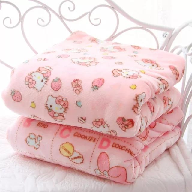 담요 가을겨울 귀여운 애니메이션 플란넬 에어컨 세트침대 싱글커버 산호벨벳 매트, C03-핑크 마이멜로디 스타일