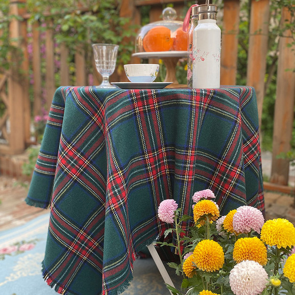 스코틀랜드 녹색 빨간색 체크 무늬 식탁보 북유럽풍 크리스마스 홈파티, 그린, 60 * 60cm