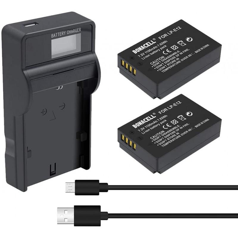보나셀 - 캐논 LP-E12 1100 mAh 및 (1) USB 충전기 교체 배터리 캐논 EOS M100 반란군 SL1 EOS 100D EOS M EOS M2 EOS, 단일옵션