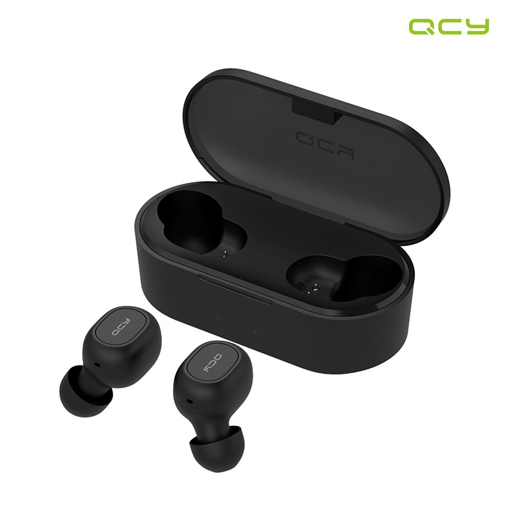 QCY T2S 무선 충전 블루투스 이어폰, 블랙