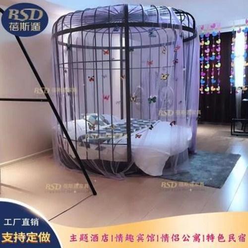 모션 베드 전동 가정용 맞춤 제작하다 개성의 새장 모티브 침대 호텔 2인용 크리, 01 침대틀+와이어 일체형 전동매트리스, 01 기타, 01 기타