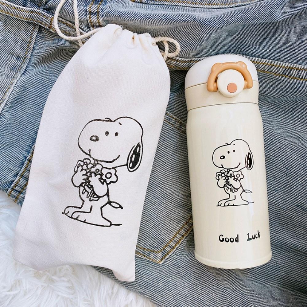 스누피 아이스 텀블러+커버 세트 스테인레스 컵 가방, 강아지 패턴 프리 컵 세트